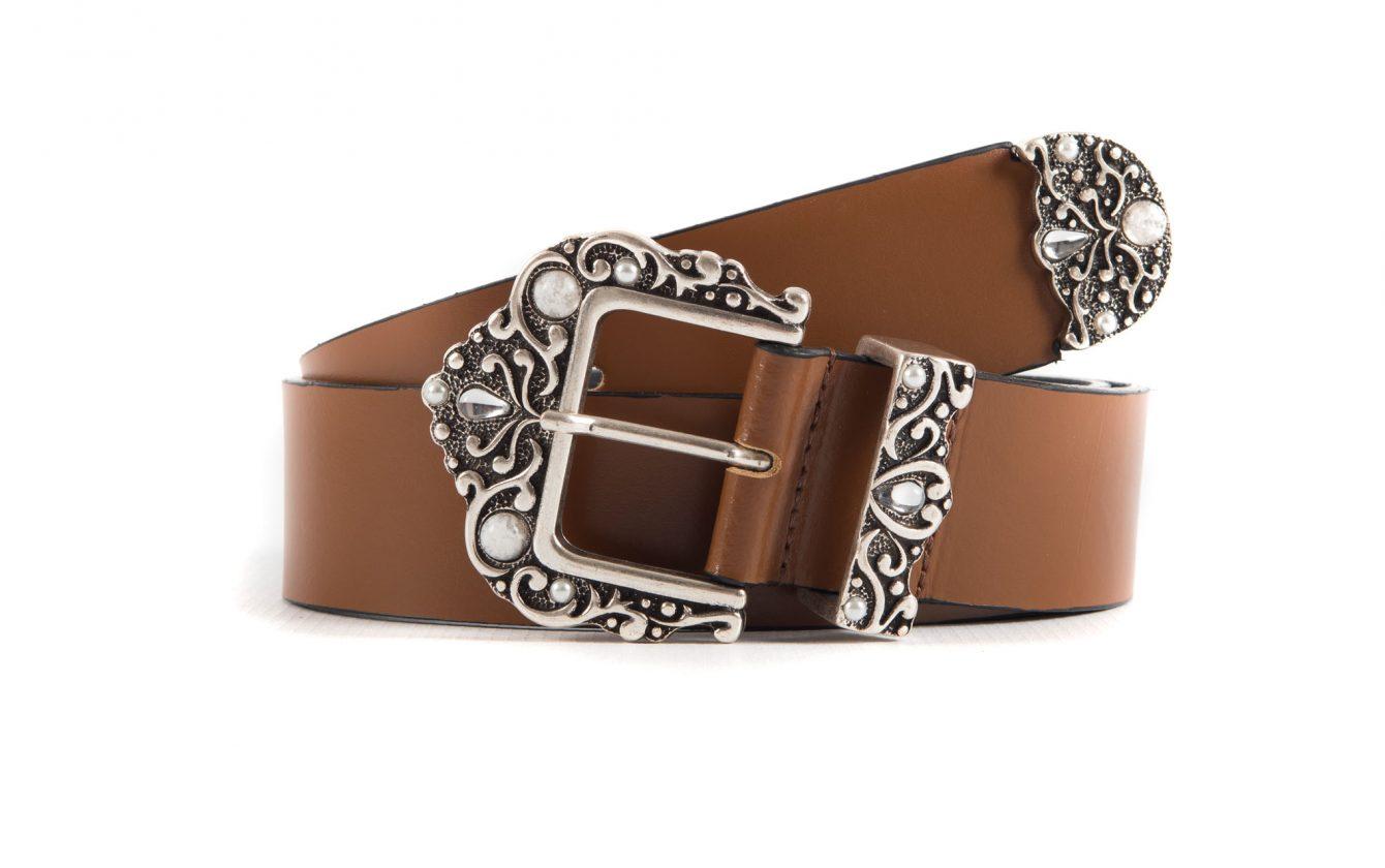 tra qualche giorno vera qualità in vendita online cintura donna in vera pelle liscia color cuoio con fibbia perle e cristal